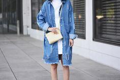 More on www.offwhiteswan.com Used Denim Jacket by Zara, White Minidress by Zara, Paleyellow Triobag by Céline, Sneaker by Adidas (Superstar) #offwhiteswan #swantjesoemmer