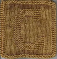 """The letter """"C"""" - knitted square/cloth"""