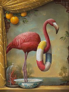 illustration by Kevin Sloan. This is one of those illustrations that keeps you wondering. I wonder what is in the pan that he is standing in? It gives me ideas for more Flamingo Incognitos :) - Gardening For Life Pink Flamingos Birds, Flamingo Art, Pink Bird, Flamingo Bathroom, Flamingo Float, Flamingo Painting, Retro Kunst, Retro Art, Surrealism Painting