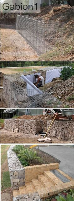 Gabion Wall With Brick Steps, Gabion Retaining Wall, Landscaping Retaining Walls, Backyard Landscaping, Outdoor Projects, Garden Projects, Back Gardens, Outdoor Gardens, Landscape Design, Garden Design