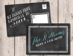 Chalkboard Moving Announcements . Weve Moved Postcards . New Home . New Address Cards . Moving Cards  .  Change of Address via Etsy