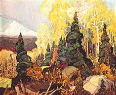 Autumn Hillside, 1920 Franklin Carmichael #art #nouveau #painting #franklin #carmichael