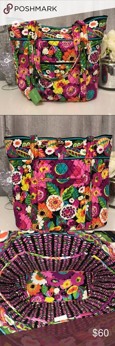 NWT Vera Bradley Tote Bag Va Va Bloom This Vera Bradley tote is in the pattern Va Va Bloom. It has never been used with tags still attached! Large slip pocket in the front, zip pocket in the back, and six slip pockets inside! Vera Bradley Bags Totes