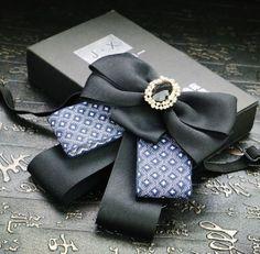 Vintage Black Blue Ribbon Wedding Groom Mens Adjustable Bow Tie Brooch Clip… #Pre-tiedtie #bowtie #necktie #weddingtie #groom #vintagetie #mentie #Tie