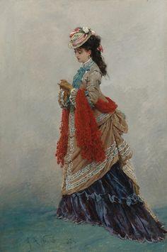 An Elegant Lady Alphonse Marie de Neuville 1874 victorian art 1870s Fashion, Edwardian Fashion, Vintage Fashion, Victorian Art, Victorian Women, Historical Costume, Historical Clothing, Turbans, Bustle Dress