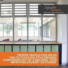Proper ventilation helps you to cycle volatile organic compounds out of a building, thus improving student outcomes. Building Management System, Louvre Windows, Indoor Air Quality, Cool Designs, Organic, Student, Jealousy, College Students