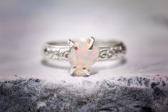 Rough Opal Sterling Silver Ring by SaraReynoldsJewelry on Etsy, $64.00