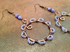 Purple and Copper Wire Wrapped Earrings.
