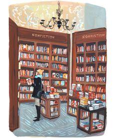 Nyc Bookstore Framed Art Print by Jenny Kroik - Vector Black - Cute Illustration, Watercolor Illustration, Painting Inspiration, Art Inspo, Book Girl, Framed Art Prints, Cute Art, Book Lovers, Art Photography