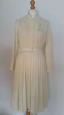 Vintage #1970s angora mix soft cream long sleeved #winter warm #pleated dress 10-,  View more on the LINK: 	http://www.zeppy.io/product/gb/2/162288534104/