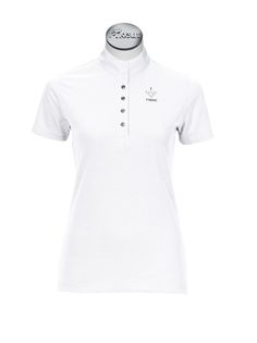 A  gorgeous competition shirt made by Pikeur. Lovely lightweight fabric with crystal buttons,  a half sleeve and crystal detailing on the front.  An essential item for your competition wardrobe!