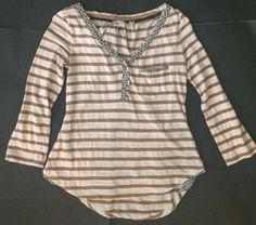 Anthropologie Postmark Beige Striped Henley Shirt S Roll Tab Sleeves Rounded Hem   eBay