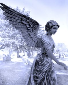 The Angelic Realm: Cemetery statue. Cemetery Angels, Cemetery Statues, Cemetery Art, Angels Among Us, Angels And Demons, Vintage Illustration, Old Cemeteries, Graveyards, Sculptures