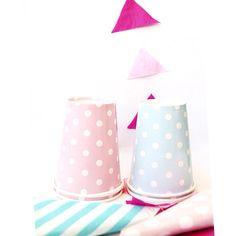 Copos de papel poá Rosa e poá azul - 8 unds  #copos #festa #poá #copinhos #rosa #azul #papel #descartáveis #ideias