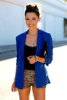 Blazer with sequin shorts! Looks fab. | Summer Style