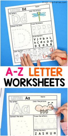 These fun and engaging NO PREP alphabet worksheets are great for practicing letter recognition! Teaching The Alphabet, Learning Letters, Kindergarten Activities, Preschool Learning, Printable Activities For Kids, Alphabet Activities, Abc Printable, Printables, Preschool Letters