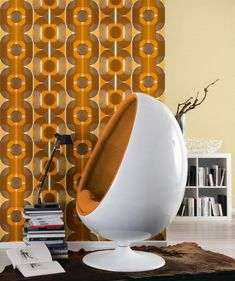 Vintage Wallpaper Retro and Designs Mod Hippie Wall Art Home Decor Wall Paper Sold per Roll of 11 yards by SmARTwalls on Etsy 1970s Decor, 70s Home Decor, Retro Wallpaper, Pattern Wallpaper, Geometric Wallpaper Uk, Orange Wallpaper, Brown Wallpaper, Pink Desk Chair, Egg Chair