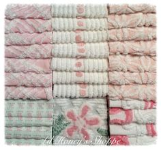 "Chenille fabric quilt squares 36-6"" blocks, pink & white, vintage bedspread fabric by lilhoneysshoppe on Etsy"