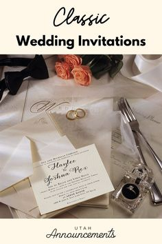 Simple and classy - these are the words that best describe this wedding invitation. Want your own classic invitation? Create one with us today! Classic Wedding Invitations, Flourish, Swirls, Announcement, Classy, Create, Chic