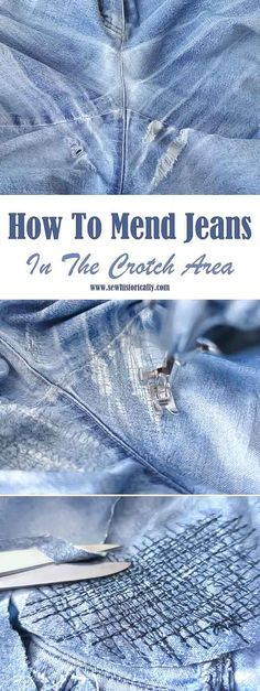 Great Cost-Free How To Mend Your Jeans (In The Crotch Area) - Sew Historically Thoughts I love Jeans ! And much more I like to sew my own, personal Jeans. Next Jeans Sew Along I am going Boro, Sewing Hacks, Sewing Tutorials, Sewing Tips, Repair Jeans, Fabric Basket Tutorial, Sewing Jeans, Visible Mending, Make Do And Mend