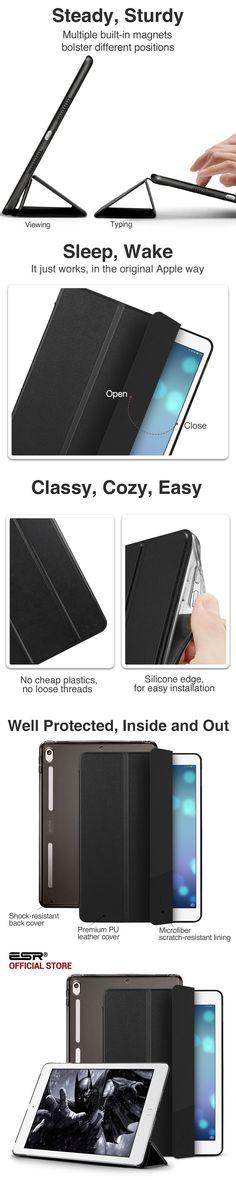 Case for iPad Pro 10.5, ESR PU Leather Translucent Back Hybrid Soft Bumper Corner Slim Smart Cover case for iPad Pro 10.5 inches