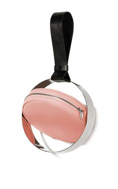 This **Persephoni** handbag features a black leather strap with pink rotating leather sphere and metal frame.