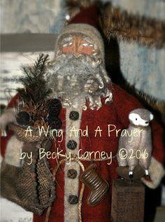 Primitive Folk Art handmade OOAK Santa doll... by AWINGANDAPRAYER