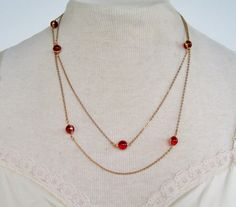 Vintage 1981 Traditional Preppy Signed Avon Opulent Cabochon Cable Chain Ruby Garnet Red Lucite Necklace by ThePaisleyUnicorn, $16.00