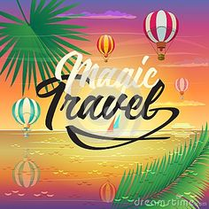 Summer sunset Paradise Tropical sea beach landscape painting poster. Magic Travel logo, hot air balloons, sky, airplane, palm, sailboat, ship, sunrise. Traveling, Voyage, Camping, outdoor recreation, adventures in nature art illustration. Vector Art.