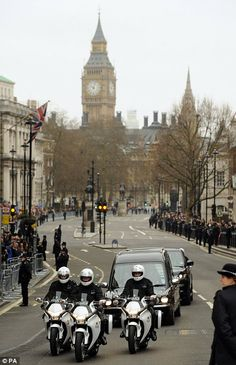 Funeral procession of former British Prime Minister Mrs Margaret Thatcher