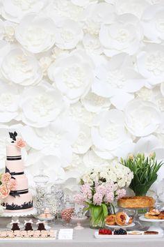 white paper flower wall