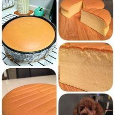 Condensed Milk Cheese Cake Recipe Desserts with egg yolks, eggs, condensed milk, plain flour, cream cheese, canola oil, lemon juice, egg whites, sugar, lemon juice