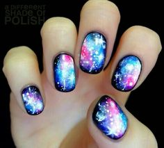 Image viaCheck out this gallery of galaxy nail art if you need inspiration for your next manicure!Image viaSimple, Realistic Galaxy Nails Tutorial, featuring JINsoon Obsidian - This is Cute Nail Art, Cute Nails, Pretty Nails, Fabulous Nails, Gorgeous Nails, Fancy Nails, Diy Nails, Pedicure Nails, Toenails