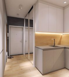 Moderrn apartment in Comfort Town on Behance Kitchen Room Design, Apartment Interior, Best Interior, Home Decor Bedroom, Interior Inspiration, Home Kitchens, Small Spaces, New Homes, House Design