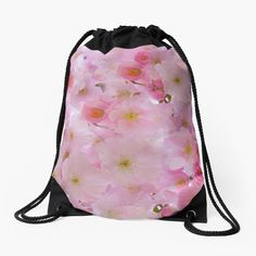 -  Made from 100% polyester woven fabric. -  Wide, soft draw cord that's easy on your      shoulders. -  Durable quality metal grommets. -  Long-lasting printed design on both front and back. . . #cherryblossoms  #japanesecherryblossoms  #pinkslowers   #flowerpower  #flowerbag  #bag  #drawstringbag  #shopproducts  #totebag  #shoulderbag  #funbag  #weekendbag  #bitsofeverywhere