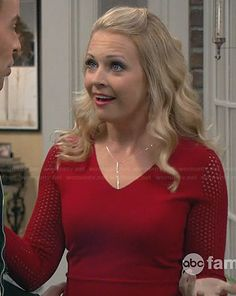 Melissa's red peplum top with mesh sleeves on Melissa and Joey