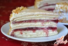 Creamy cheese pancake cake with cherry jam!