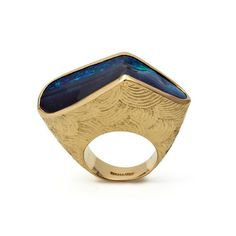 "Crima Creations OPAL RING, 2009 An Australian Boulder Opal set in Yellow Gold with a ""Chinoiserie"" texture. By Jojo and Francesca Grima"