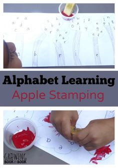 Learn the alphabet with this fun apple stamping activity.  Perfect for practicing letter recognition or the letters in your name.