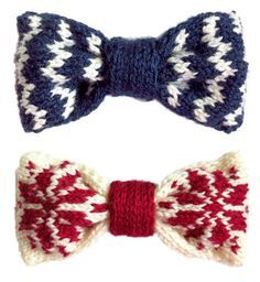 Knitted Bow - Some fair isle variations.FREE PATTERNS on Oddknits.com