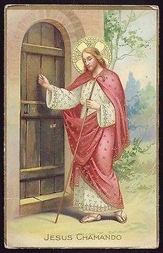 I knock at the door! Jesus Art, Jesus Christ, Vintage Holy Cards, Christian Artwork, Religion Catolica, Religious Images, Prayer Cards, Bible Art, Christen