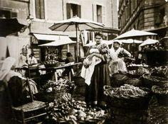 Ed. ne Alinari, Mercato dell'Erbe a Campo di Fiori, Roma 1880