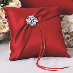 This gorgeous red ring bearer pillow will add a pop of color to your wedding ceremony. Colors offered are red, white, ivory or black ring bearer pillow. Ring Bearer Pillows, Ring Pillows, Bow Pillows, Pillow Fabric, Ring Pillow Wedding, Wedding Pillows, Wedding Ring, Red Rings, Cushion Ring