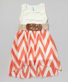 Look at this Just Kids Coral Lace Chevron Belted Hi-Low Dress - Girls on #zulily today!