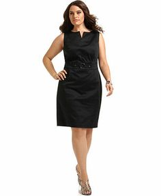 AGB Plus Size Sleeveless O-Ring Sheath Dress. Professional and gorgeous.