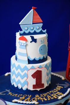 Amazing cake at a Nautical Birthday Party! See more party ideas at CatchMyParty.com!