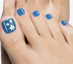 blue toenail art flower design