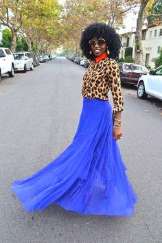 Leopard Print Button Shirt + Royal Blue Mesh and Chiffon Maxi Skirt