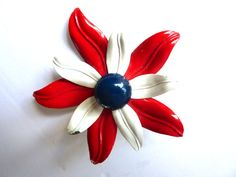 Red White and Blue Flower  Brooch by BonniesVintageAttic on Etsy,
