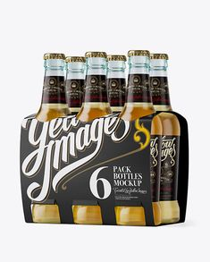 White Paper 6 Pack Beer Bottle Carrier Mockup - Halfside View. Preview